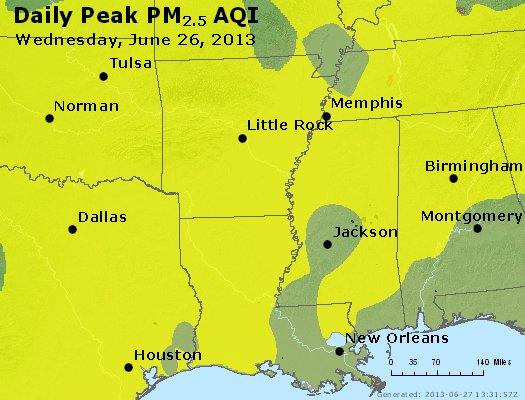 Peak Particles PM<sub>2.5</sub> (24-hour) - https://files.airnowtech.org/airnow/2013/20130626/peak_pm25_ar_la_ms.jpg