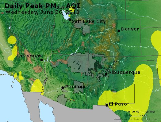 Peak Particles PM<sub>2.5</sub> (24-hour) - https://files.airnowtech.org/airnow/2013/20130626/peak_pm25_co_ut_az_nm.jpg