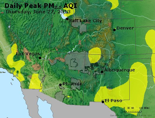 Peak Particles PM<sub>2.5</sub> (24-hour) - https://files.airnowtech.org/airnow/2013/20130627/peak_pm25_co_ut_az_nm.jpg