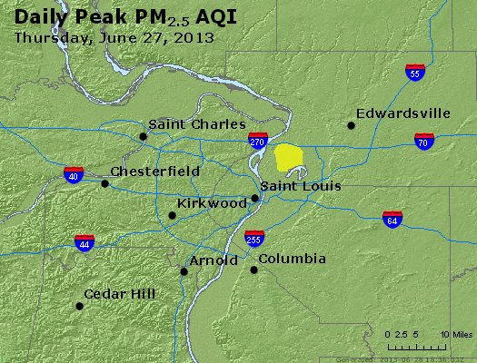 Peak Particles PM<sub>2.5</sub> (24-hour) - https://files.airnowtech.org/airnow/2013/20130627/peak_pm25_stlouis_mo.jpg