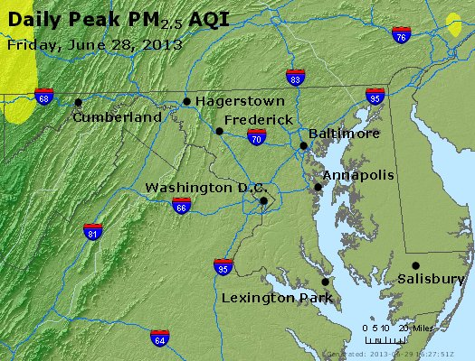 Peak Particles PM<sub>2.5</sub> (24-hour) - https://files.airnowtech.org/airnow/2013/20130628/peak_pm25_maryland.jpg