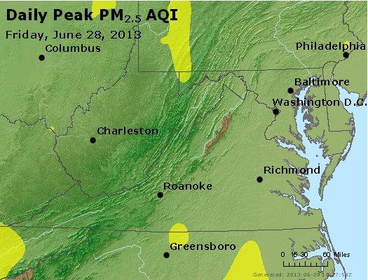 Peak Particles PM<sub>2.5</sub> (24-hour) - https://files.airnowtech.org/airnow/2013/20130628/peak_pm25_va_wv_md_de_dc.jpg