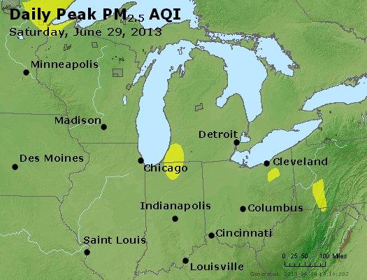 Peak Particles PM<sub>2.5</sub> (24-hour) - https://files.airnowtech.org/airnow/2013/20130629/peak_pm25_mi_in_oh.jpg