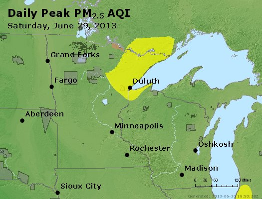 Peak Particles PM2.5 (24-hour) - https://files.airnowtech.org/airnow/2013/20130629/peak_pm25_mn_wi.jpg