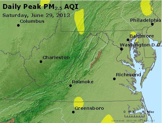 Peak Particles PM<sub>2.5</sub> (24-hour) - https://files.airnowtech.org/airnow/2013/20130629/peak_pm25_va_wv_md_de_dc.jpg