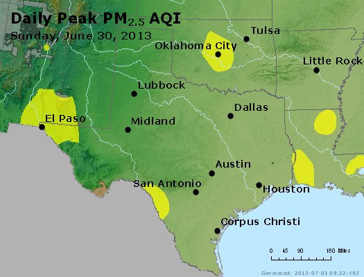 Peak Particles PM<sub>2.5</sub> (24-hour) - https://files.airnowtech.org/airnow/2013/20130630/peak_pm25_tx_ok.jpg