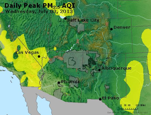 Peak Particles PM<sub>2.5</sub> (24-hour) - https://files.airnowtech.org/airnow/2013/20130703/peak_pm25_co_ut_az_nm.jpg