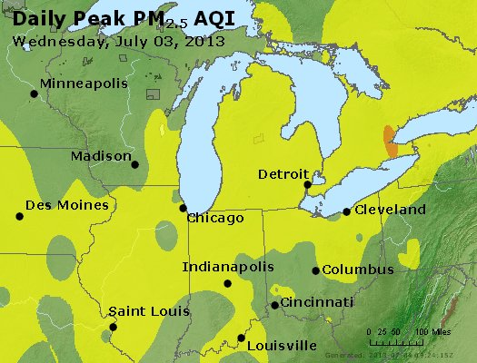 Peak Particles PM<sub>2.5</sub> (24-hour) - https://files.airnowtech.org/airnow/2013/20130703/peak_pm25_mi_in_oh.jpg