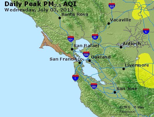 Peak Particles PM<sub>2.5</sub> (24-hour) - https://files.airnowtech.org/airnow/2013/20130703/peak_pm25_sanfrancisco_ca.jpg