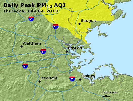 Peak Particles PM<sub>2.5</sub> (24-hour) - https://files.airnowtech.org/airnow/2013/20130704/peak_pm25_boston_ma.jpg