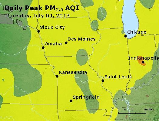 Peak Particles PM<sub>2.5</sub> (24-hour) - https://files.airnowtech.org/airnow/2013/20130704/peak_pm25_ia_il_mo.jpg