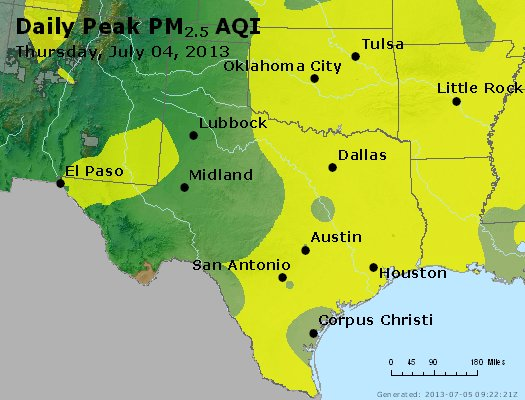 Peak Particles PM<sub>2.5</sub> (24-hour) - https://files.airnowtech.org/airnow/2013/20130704/peak_pm25_tx_ok.jpg