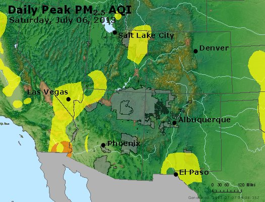 Peak Particles PM<sub>2.5</sub> (24-hour) - https://files.airnowtech.org/airnow/2013/20130706/peak_pm25_co_ut_az_nm.jpg