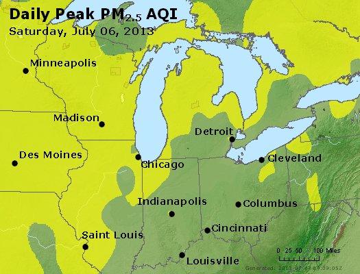Peak Particles PM<sub>2.5</sub> (24-hour) - https://files.airnowtech.org/airnow/2013/20130706/peak_pm25_mi_in_oh.jpg