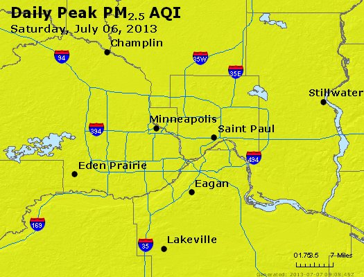 Peak Particles PM<sub>2.5</sub> (24-hour) - https://files.airnowtech.org/airnow/2013/20130706/peak_pm25_minneapolis_mn.jpg