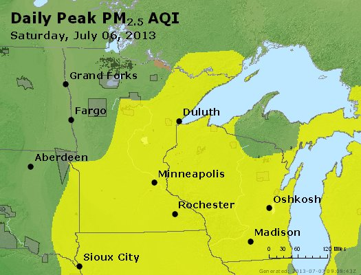 Peak Particles PM2.5 (24-hour) - https://files.airnowtech.org/airnow/2013/20130706/peak_pm25_mn_wi.jpg