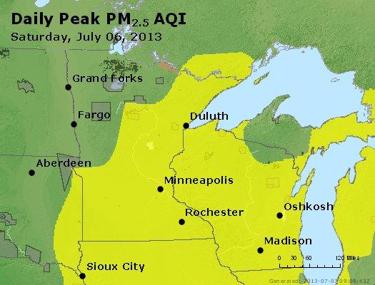 Peak Particles PM<sub>2.5</sub> (24-hour) - https://files.airnowtech.org/airnow/2013/20130706/peak_pm25_mn_wi.jpg