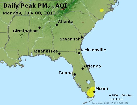 Peak Particles PM<sub>2.5</sub> (24-hour) - https://files.airnowtech.org/airnow/2013/20130708/peak_pm25_al_ga_fl.jpg