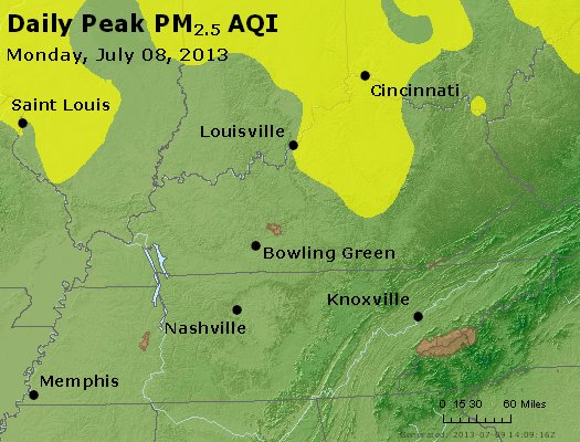 Peak Particles PM<sub>2.5</sub> (24-hour) - https://files.airnowtech.org/airnow/2013/20130708/peak_pm25_ky_tn.jpg