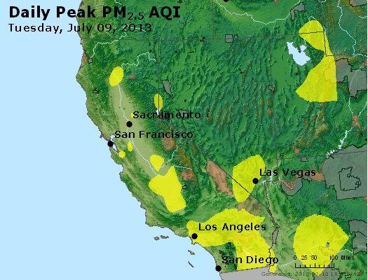 Peak Particles PM<sub>2.5</sub> (24-hour) - https://files.airnowtech.org/airnow/2013/20130709/peak_pm25_ca_nv.jpg