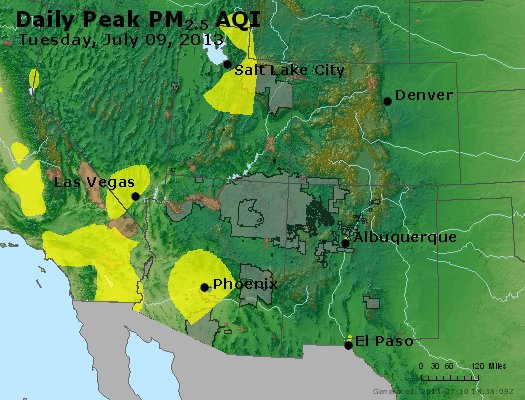 Peak Particles PM<sub>2.5</sub> (24-hour) - https://files.airnowtech.org/airnow/2013/20130709/peak_pm25_co_ut_az_nm.jpg