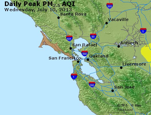 Peak Particles PM<sub>2.5</sub> (24-hour) - https://files.airnowtech.org/airnow/2013/20130710/peak_pm25_sanfrancisco_ca.jpg