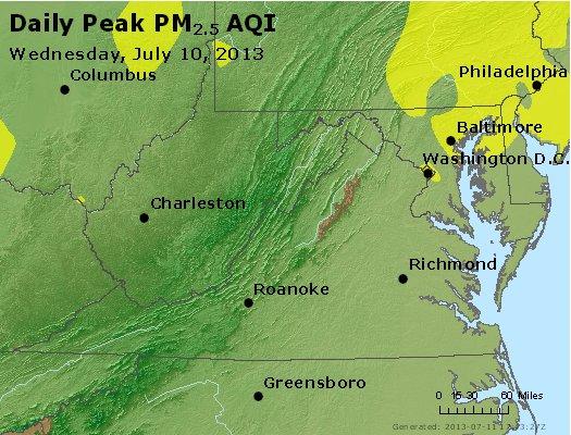 Peak Particles PM<sub>2.5</sub> (24-hour) - https://files.airnowtech.org/airnow/2013/20130710/peak_pm25_va_wv_md_de_dc.jpg