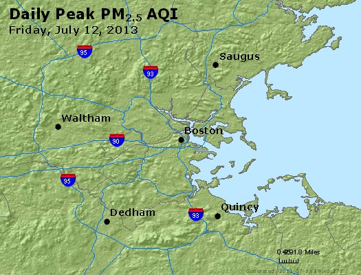 Peak Particles PM<sub>2.5</sub> (24-hour) - https://files.airnowtech.org/airnow/2013/20130712/peak_pm25_boston_ma.jpg