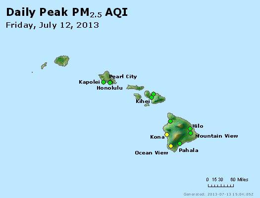 Peak Particles PM<sub>2.5</sub> (24-hour) - https://files.airnowtech.org/airnow/2013/20130712/peak_pm25_hawaii.jpg