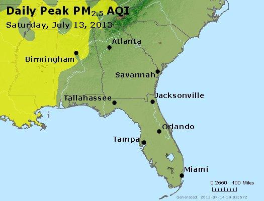 Peak Particles PM<sub>2.5</sub> (24-hour) - https://files.airnowtech.org/airnow/2013/20130713/peak_pm25_al_ga_fl.jpg