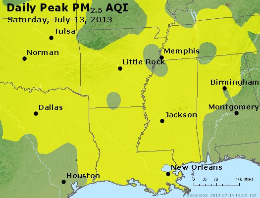 Peak Particles PM<sub>2.5</sub> (24-hour) - https://files.airnowtech.org/airnow/2013/20130713/peak_pm25_ar_la_ms.jpg
