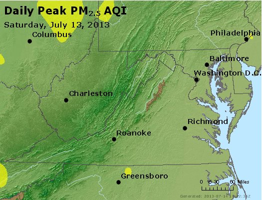 Peak Particles PM<sub>2.5</sub> (24-hour) - https://files.airnowtech.org/airnow/2013/20130713/peak_pm25_va_wv_md_de_dc.jpg
