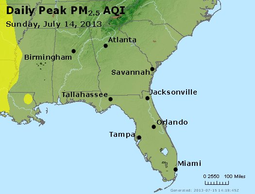 Peak Particles PM<sub>2.5</sub> (24-hour) - https://files.airnowtech.org/airnow/2013/20130714/peak_pm25_al_ga_fl.jpg