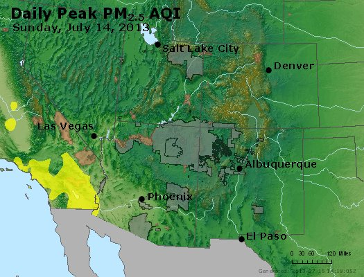 Peak Particles PM<sub>2.5</sub> (24-hour) - https://files.airnowtech.org/airnow/2013/20130714/peak_pm25_co_ut_az_nm.jpg