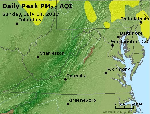 Peak Particles PM<sub>2.5</sub> (24-hour) - https://files.airnowtech.org/airnow/2013/20130714/peak_pm25_va_wv_md_de_dc.jpg