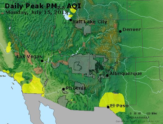 Peak Particles PM<sub>2.5</sub> (24-hour) - https://files.airnowtech.org/airnow/2013/20130715/peak_pm25_co_ut_az_nm.jpg