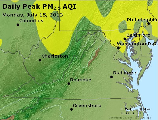 Peak Particles PM<sub>2.5</sub> (24-hour) - https://files.airnowtech.org/airnow/2013/20130715/peak_pm25_va_wv_md_de_dc.jpg