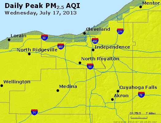 Peak Particles PM<sub>2.5</sub> (24-hour) - https://files.airnowtech.org/airnow/2013/20130717/peak_pm25_cleveland_oh.jpg