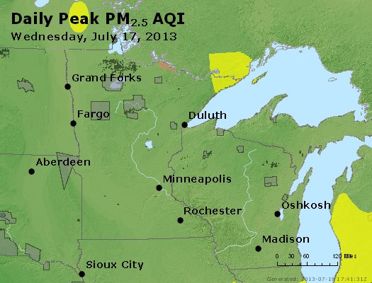 Peak Particles PM2.5 (24-hour) - https://files.airnowtech.org/airnow/2013/20130717/peak_pm25_mn_wi.jpg