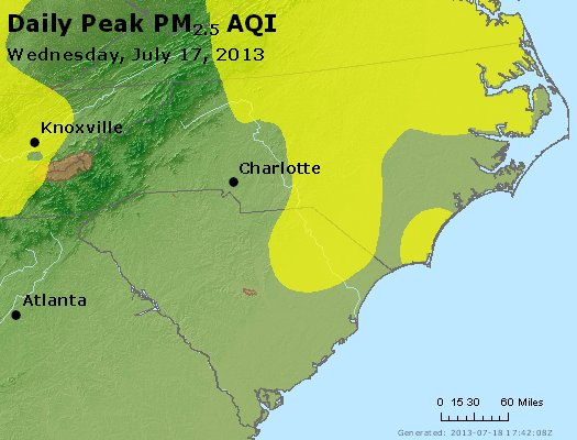 Peak Particles PM2.5 (24-hour) - https://files.airnowtech.org/airnow/2013/20130717/peak_pm25_nc_sc.jpg