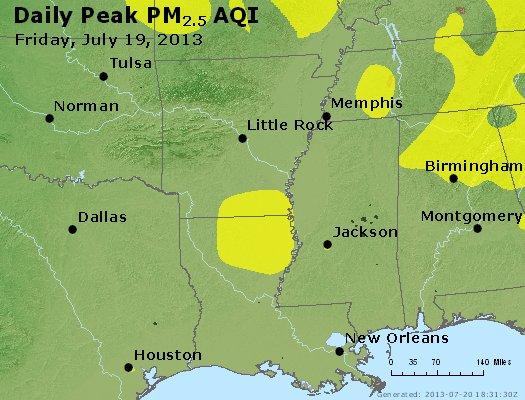 Peak Particles PM<sub>2.5</sub> (24-hour) - https://files.airnowtech.org/airnow/2013/20130719/peak_pm25_ar_la_ms.jpg
