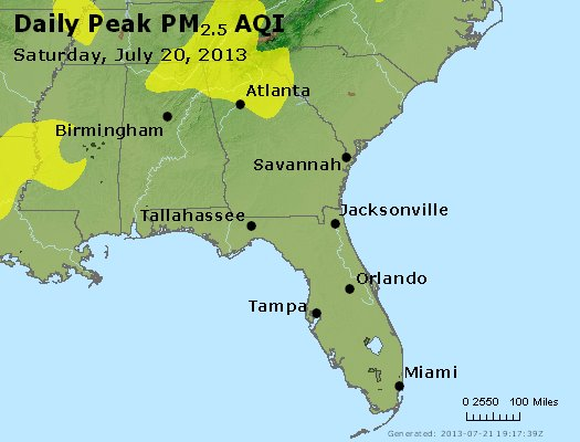 Peak Particles PM<sub>2.5</sub> (24-hour) - https://files.airnowtech.org/airnow/2013/20130720/peak_pm25_al_ga_fl.jpg