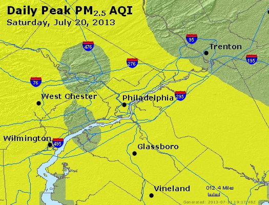 Peak Particles PM<sub>2.5</sub> (24-hour) - https://files.airnowtech.org/airnow/2013/20130720/peak_pm25_philadelphia_pa.jpg