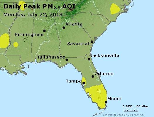 Peak Particles PM<sub>2.5</sub> (24-hour) - https://files.airnowtech.org/airnow/2013/20130722/peak_pm25_al_ga_fl.jpg