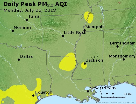 Peak Particles PM<sub>2.5</sub> (24-hour) - https://files.airnowtech.org/airnow/2013/20130722/peak_pm25_ar_la_ms.jpg