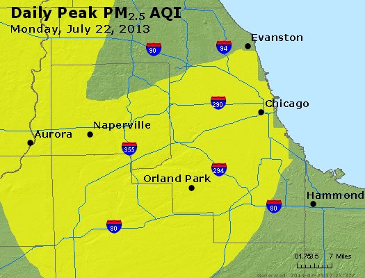 Peak Particles PM<sub>2.5</sub> (24-hour) - https://files.airnowtech.org/airnow/2013/20130722/peak_pm25_chicago_il.jpg
