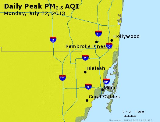 Peak Particles PM<sub>2.5</sub> (24-hour) - https://files.airnowtech.org/airnow/2013/20130722/peak_pm25_miami_fl.jpg