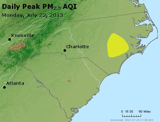 Peak Particles PM2.5 (24-hour) - https://files.airnowtech.org/airnow/2013/20130722/peak_pm25_nc_sc.jpg