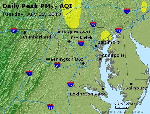 Peak Particles PM<sub>2.5</sub> (24-hour) - https://files.airnowtech.org/airnow/2013/20130723/peak_pm25_maryland.jpg