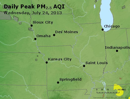 Peak Particles PM<sub>2.5</sub> (24-hour) - https://files.airnowtech.org/airnow/2013/20130724/peak_pm25_ia_il_mo.jpg
